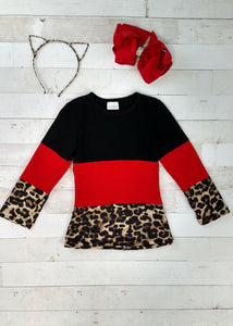 *CLEARANCE* Long Sleeve Leopard Print & Red Color Block Top, Mommy & Me - The Hot Polka Dot