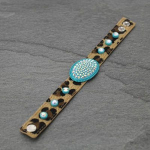 TURQUOISE Oval Rhinestone Leopard Bracelet - The Hot Polka Dot