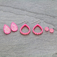 Load image into Gallery viewer, Neon Pink Earring Trio Set