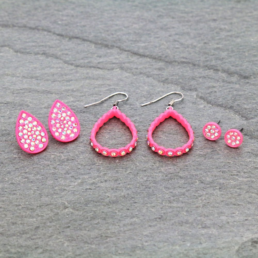 Neon Pink Earring Trio Set