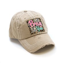 Load image into Gallery viewer, IMMA PRAY FOR YOU, Leopard Embroidered Patch Distressed TAN Hat - The Hot Polka Dot