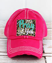 Load image into Gallery viewer, IMMA PRAY FOR YOU, Leopard Embroidered Patch Distressed HOT PINK Hat - The Hot Polka Dot