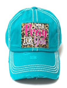 IMMA PRAY FOR YOU, Leopard Embroidered Patch Distressed TAN Hat - The Hot Polka Dot