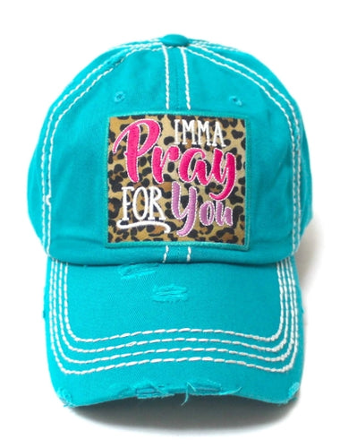 IMMA PRAY FOR YOU, Leopard Embroidered Patch Distressed TURQUOISE Hat - The Hot Polka Dot