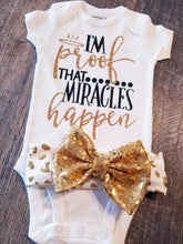 Load image into Gallery viewer, I'm Proof Miracles do Happen, New Baby Girl Onesie, Baby Shower Gift - The Hot Polka Dot