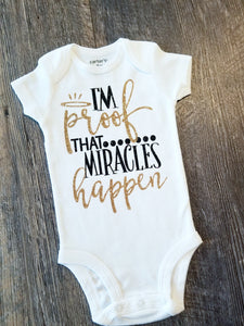 I'm Proof Miracles do Happen, New Baby Girl Onesie, Baby Shower Gift - The Hot Polka Dot