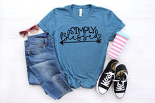 Load image into Gallery viewer, Simply Blessed, Cute Graphic Tee, Choose Shirt Color - The Hot Polka Dot