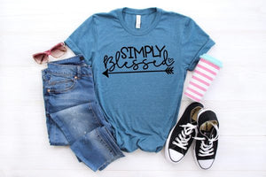 Simply Blessed, Cute Graphic Tee, Choose Shirt Color - The Hot Polka Dot