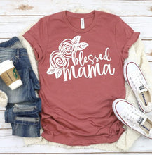 Load image into Gallery viewer, BLESSSED MAMA Floral Graphic Tee, Choose Shirt Color - The Hot Polka Dot