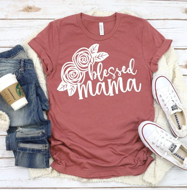 BLESSSED MAMA Floral Graphic Tee, Choose Shirt Color - The Hot Polka Dot