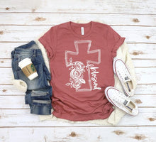 Load image into Gallery viewer, BLESSED Floral Cross Graphic Tee, Choose Shirt Color - The Hot Polka Dot