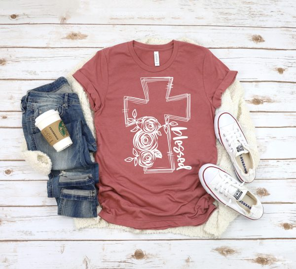 BLESSED Floral Cross Graphic Tee, Choose Shirt Color - The Hot Polka Dot