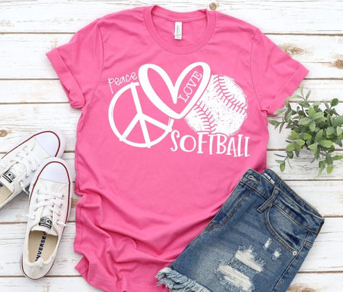 Peace Love & Softball Graphic Tee, Choose Shirt Color - The Hot Polka Dot