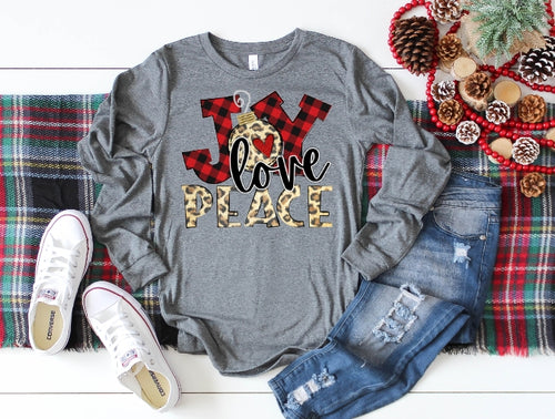 Joy Love Peace, Leopard Print & Buffalo Plaid Shirt, Choose Shirt Style - The Hot Polka Dot