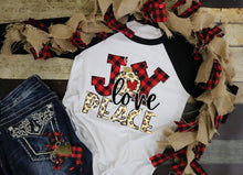 Load image into Gallery viewer, Joy Love Peace, Leopard Print & Buffalo Plaid Shirt, Choose Shirt Style - The Hot Polka Dot