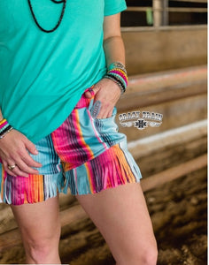 JUST GOT SUEDE SHORTS Serape Print Shorts ~ Crazy Train - The Hot Polka Dot