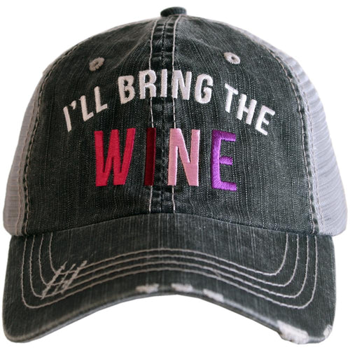 I'll bring the WINE, Embroidered Hat, Girls Weekend Distressed Trucker Hat - The Hot Polka Dot