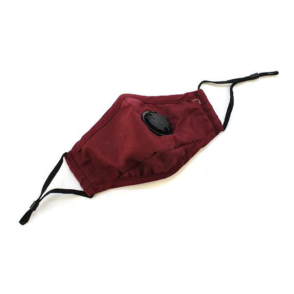 KIDS Solid Maroon Adjustable Mask with Vent & Nose Wire