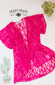 *DAILY SPECIAL* *GIRLS* HOT PINK ALBUQUERQUE LACE DUSTER ~ Crazy Train - The Hot Polka Dot