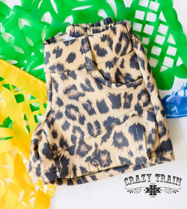*GIRLS* SUEDE YOU LOOK Leopard Print Fringe Shorts ~ Crazy Train - The Hot Polka Dot