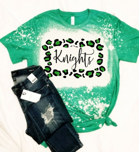*BLEACHED* Green KNIGHTS Leopard Frame, All Glittered Spirit Game Day Shirt, Knights Pride Shirt