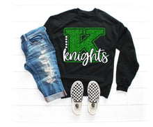 Load image into Gallery viewer, Girls KNIGHTS Shirt Designs, School Mascot Shirts, Sweatshirt, Raglan or Hoodie, YOU CHOOSE - The Hot Polka Dot