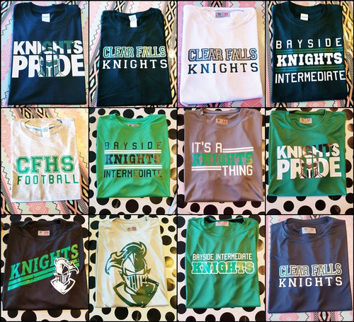Boys KNIGHTS Shirt Designs, School Mascot Shirts, Sweatshirt, Raglan or Hoodie, YOU CHOOSE - The Hot Polka Dot