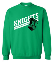 Load image into Gallery viewer, Distressed KNIGHTS Mascot, Clear Falls Knights Shirts, Sweatshirt, Raglan or Hoodie - The Hot Polka Dot