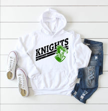 Load image into Gallery viewer, Copy of Distressed KNIGHTS Mascot, Clear Falls Knights Shirts, Sweatshirt, Raglan or Hoodie - The Hot Polka Dot