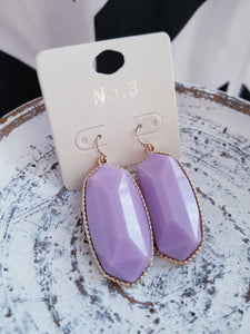 LAVENDER Hexagonal Shaped Inspired Statement Earrings