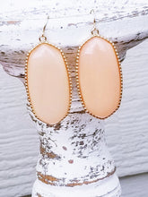 Load image into Gallery viewer, PEACH Shimmer Hexagonal Shaped Statement Earrings - The Hot Polka Dot