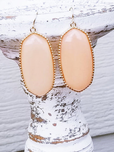 PEACH Shimmer Hexagonal Shaped Statement Earrings - The Hot Polka Dot