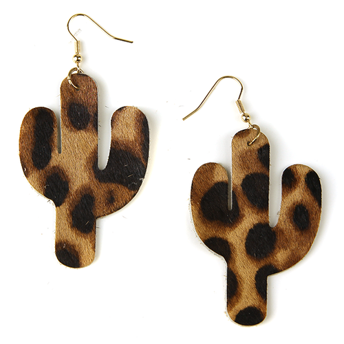 Soft Textured Leopard Print Cactus Earrings
