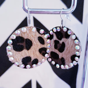 Rhinestone Studded Circle Leopard Textured Earrings