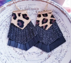 Leopard Print Fringe Earrings