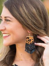Load image into Gallery viewer, Leopard Print Fringe Earrings