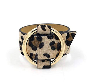 Leopard Print Belt Bracelet with Gold Ring - The Hot Polka Dot