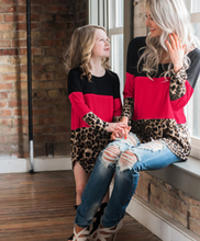 Load image into Gallery viewer, *CLEARANCE* Long Sleeve Leopard Print & Red Color Block Top, Mommy & Me - The Hot Polka Dot