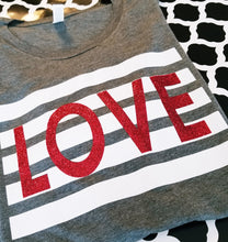Load image into Gallery viewer, LOVE Striped Valentine's Day Shirt, Youth & Adult, Choose Shirt Color - The Hot Polka Dot