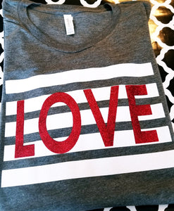 LOVE Striped Valentine's Day Shirt, Youth & Adult, Choose Shirt Color - The Hot Polka Dot