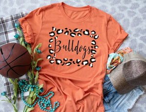 La Porte Bulldogs Leopard Frame, All Glittered Spirit Game Day Shirt, LP Bulldogs School Spirit Shirt