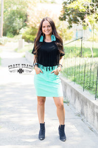 THE LAW MAKER SKIRT in Light Turquoise ~ Crazy Train - The Hot Polka Dot