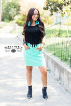 Load image into Gallery viewer, THE LAW MAKER SKIRT in Light Turquoise ~ Crazy Train - The Hot Polka Dot