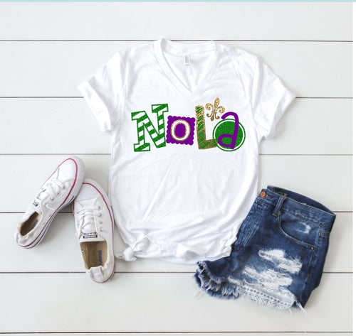 NOLA Glitter Tank or TShirt,  MARDI GRAS Shirt, Choose Shirt Style & Color - The Hot Polka Dot