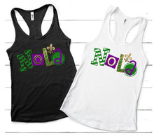 Load image into Gallery viewer, NOLA Glitter Tank or TShirt,  MARDI GRAS Shirt, Choose Shirt Style & Color - The Hot Polka Dot