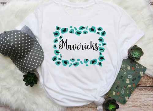 MAVERICKS Mascot Leopard Frame, All Glittered Spirit Game Day Shirt, Pasadena Memorial Mavericks