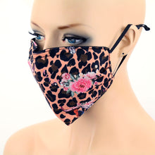 Load image into Gallery viewer, NEW Boho Skull Roses & Leopard Print Face Mask with Filter