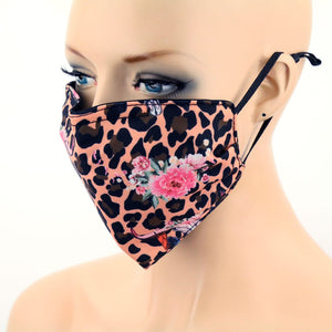 NEW Boho Skull Roses & Leopard Print Face Mask with Filter