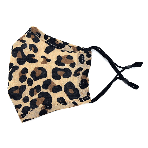 Adult Brown Leopard Print Adjustable Fabric Mask