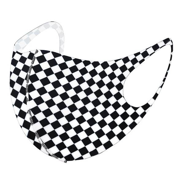 Adult Black & White Checkered Print Fabric Face Mask